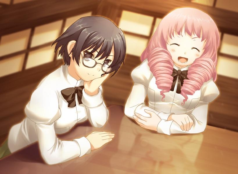 Shizune (cheveux noirs) et son amie Misha (cheveux roses), l'interprète pour sourde la plus bruyante sur cette terre