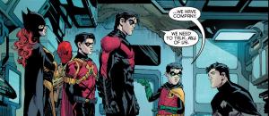 De gauche à droite : Batgirl, Red Hood, Red Robin, Nightwing, Robin et enfin Batman